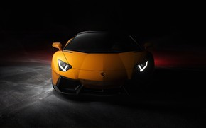 Picture yellow, lights, shadow, Lamborghini, Front, Yellow, Aventador, Lamborghini Aventador
