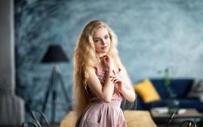 Picture girl, room, skirt, blonde, blouse, Anastasia Barmina, Anastasia Barmina