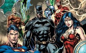 Picture fantasy, Wonder Woman, Batman, comics, Superman, artwork, mask, superheroes, costume, fantasy art, DC Comics, Cyborg, …