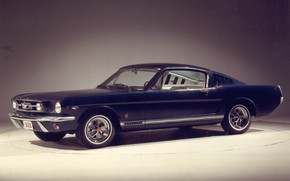 Picture blue, retro, mustang, ford, muscle, 1966, fastback
