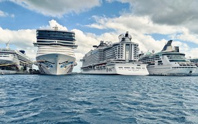 Picture Port, Court, The ship, Liners, MSC, Passenger liner, Vessel, Seaside, Cruise Ship, Royal Caribbean Cruises, …