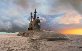 Picture submarine, ash, the project 885, Severodvinsk