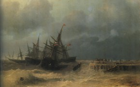Picture storm, ships, picture, seascape, Ivan Aivazovsky, 1872, Fleeing from the Storm