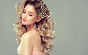 Picture girl, hairstyle, blonde, decoration, flowers, the bride, curls, edwardderule