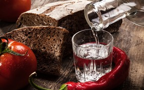 Picture red, table, Board, bottle, bread, pepper, stack, vodka, tomatoes, glass, bokeh, Chile, appetizer