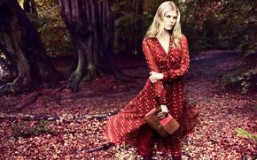 Picture autumn, look, girl, pose, photo, dress, bag, Marina Linchuk