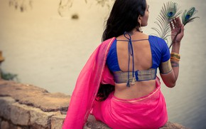Picture girl, fashion, figure, model, pose, indian, back view, saree, sari, traditional