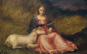 Picture oil, picture, canvas, mythology, неизвестный художник, 1510, Девушка с Единорогом