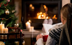 Picture comfort, mood, stay, woman, tree, candles, New Year, Cup, book, fireplace, hot drink