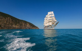 Picture sea, sailboat, The black sea, Сергей Титов, учебный трёхмачтовый фрегат, Фрегат Херсонес