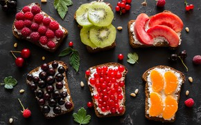 Picture berries, bread, fruit, toast, sandwiches