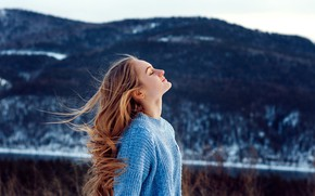 Picture winter, girl, nature, the wind, hills, hair, blonde, sweater