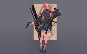 Picture girl, weapons, background, anime, art, jacket