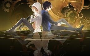 Picture reflection, weapons, anime, art, guys, senyuu