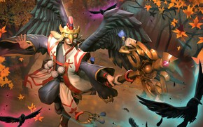 Picture wings, mask, staff, hon, art, Heroes of Newerth, prophet, Prince Prophet