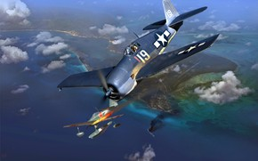 Picture Nakajima, A6M2-N, F6F-3 Hellcat, WWII, Float fighter, Radial engine R-2800-10W