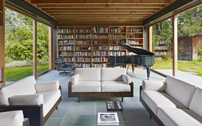 Picture interior, piano, library, living room, Low-Rise House, by Spiegel Aihara Workshop