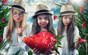 Picture girls, strawberry, hats, Trinity, berry-giant