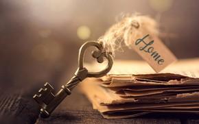 Picture macro, paper, Board, key, leaves, bokeh, tag