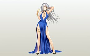 Picture girl, sexy, cleavage, long hair, dress, boobs, anime, beautiful, pretty, erotic, breasts, attractive, handsome, silver …
