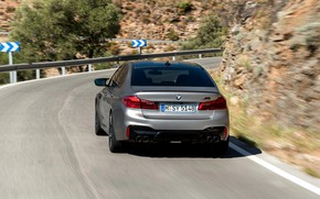 Picture grey, turn, BMW, sedan, mountain road, 4x4, 2018, feed, four-door, M5, V8, F90, M5 Competition