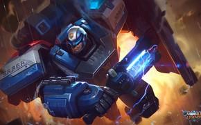 Picture robot, armor, cyborg, Mobile Legends Bang Bang, electro-Shocker