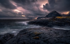 Picture sea, clouds, stones, overcast, rocks, rocky shore, frowning, gloomy sky