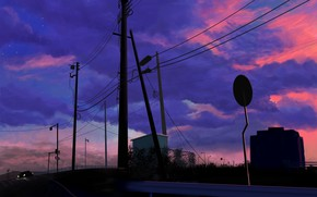 Picture auto, road, twilight, power lines, Magnet