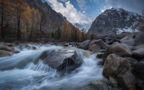 Picture autumn, landscape, mountains, nature, river, stones, valley, glacier, Altay, Aktru