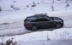 Picture winter, road, snow, Jaguar, side view, universal, Jaguar XF, 2020, XF, XF Sportbrake