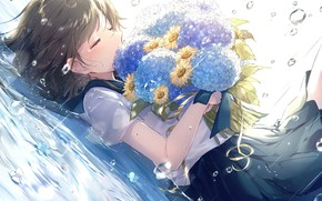 Picture drops, rain, chamomile, puddle, schoolgirl, a bouquet of flowers, tears, on the back, hydrangea, closed …