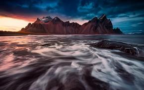 Picture sea, nature, rocks, Iceland, Vestrahorn