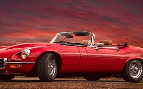 Picture red, sports car, Jaguar E-Type, Jaguar XK-E