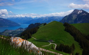 Picture road, clouds, landscape, mountains, nature, lake, Switzerland, Alps, forest
