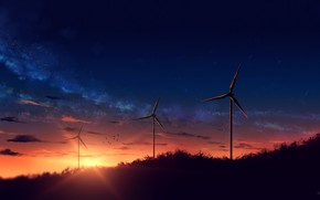 Picture sunset, nature, windmills, the milky way