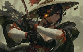 Picture Girl, Figure, Rain, Asian, Girl, Sword, Asia, Fantasy, Art, Art, Asian, Fiction, Rain, War, Asia, …
