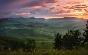 Picture field, summer, trees, sunset, mountains, fog, hills, field, dal, the evening, haze, meadows