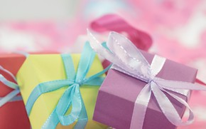Picture holiday, box, gift, tape, gifts, bows, bow, box, bokeh, bows