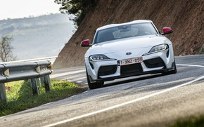 Picture road, white, coupe, turn, the fence, Toyota, front, Supra, the fifth generation, mk5, double, 2020, …