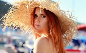 Picture look, girl, face, portrait, hat, freckles, red, redhead, shoulder, Angelina, Denis Lankin