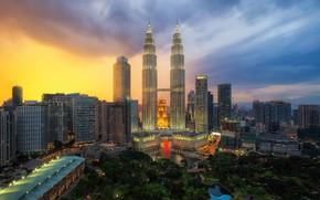 Picture the city, dawn, building, morning, Malaysia, Kuala Lumpur