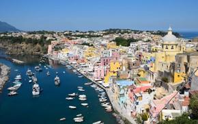 Picture sea, home, yachts, Italy, Marina, Procida, Procida