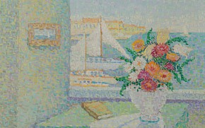 Picture flowers, picture, sail, pointillism, Still life with Boats in the Harbor, Jeanne Selmer Home-Desgranges