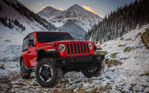 Picture snow, red, stones, the front, 2018, Jeep, Wrangler Rubicon