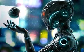 Picture robot, neon, helmet, cyborg, robot, neon, cyborg, pearls, летающий шар, flying ball