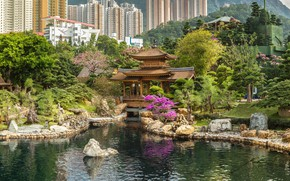 Picture pond, Park, stones, building, home, Hong Kong, China, pagoda, skyscrapers, pavilion