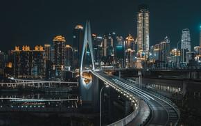 Picture city, lights, China, bridge, night, Asia, Chongqing