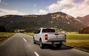 Picture mountains, plain, Renault, pickup, 4x4, 2017, Alaskan, gray-silver