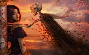 Picture girl, sunset, skeleton, ivy