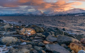 Picture winter, the sky, water, clouds, snow, mountains, stones, rocks, shore, tops, Norway, pond, snow, stones, …